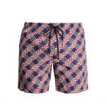 Fendi - Logo & Geometric print swim shorts