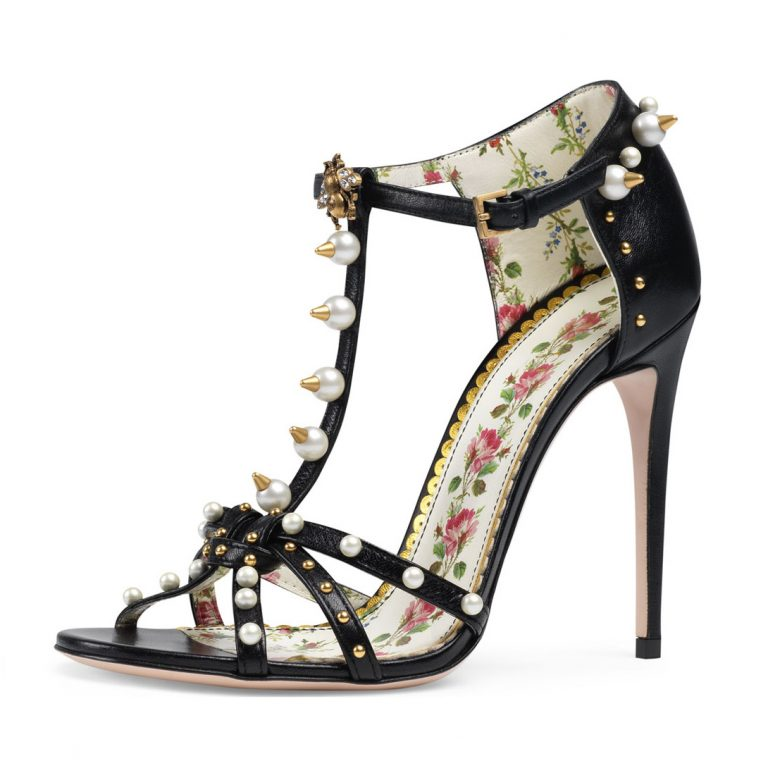 Gucci Regina Studded Leather T-Strap Sandal