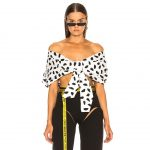 Off White - Oversize Off the Shoulder Crop Top