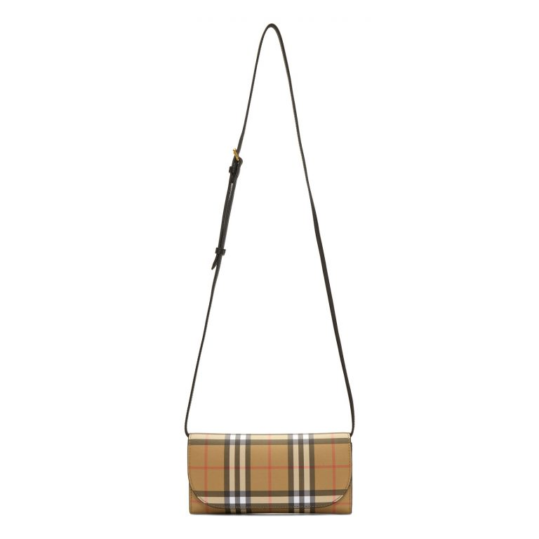 Burberry - Beige & Black Henley Small Wallet Bag