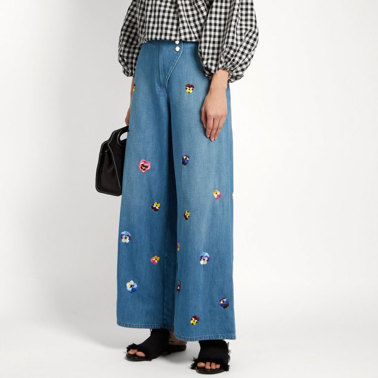 Christopher Kane - Pansy-embroidered wide-leg jeans