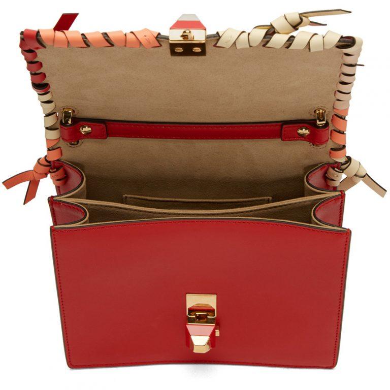 Fendi - Red Small Whipstitch 'Kan I' Bag