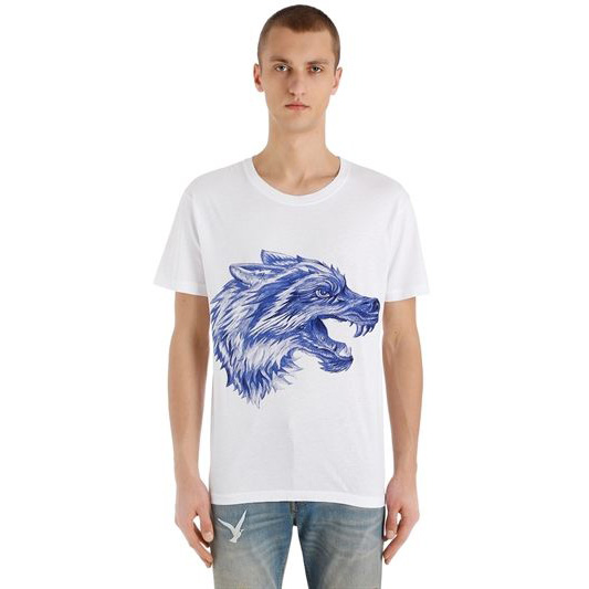 Gucci - Pen Effect Wolf Printed T-Shirt