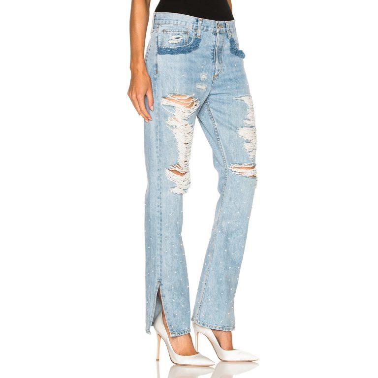 Jonathan Simkhai - Distressed Beaded Jeans