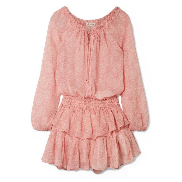 LoveShackFancy - Ruffled Printed Silk-Georgette Dress