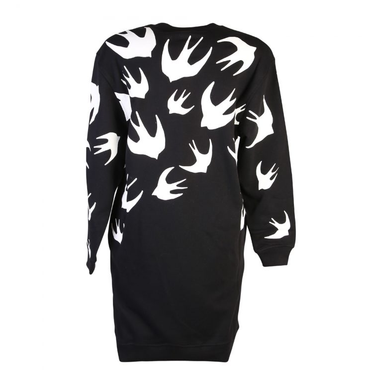 MCQ Alexander McQueen - Black Swallows Print Dress