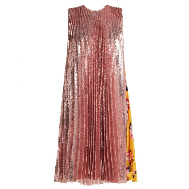 MSGM - Pleated Sequin & Floral-Print Dress