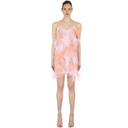 Nina Ricci - Tulle Dress w Sequins & Feathers
