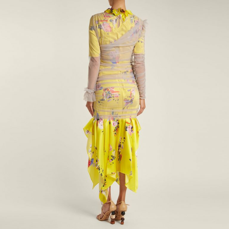 Preen By Thornton Bregazzi - Ariel Floral & Block-Print Satin Dress