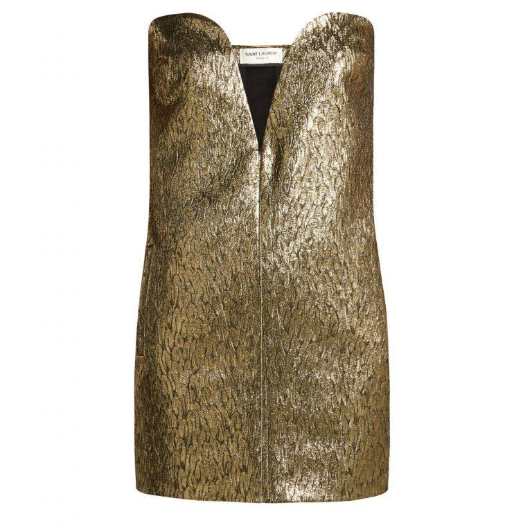 Saint Laurent - Strapless Wool & Silk-Blend Jacquard Dress